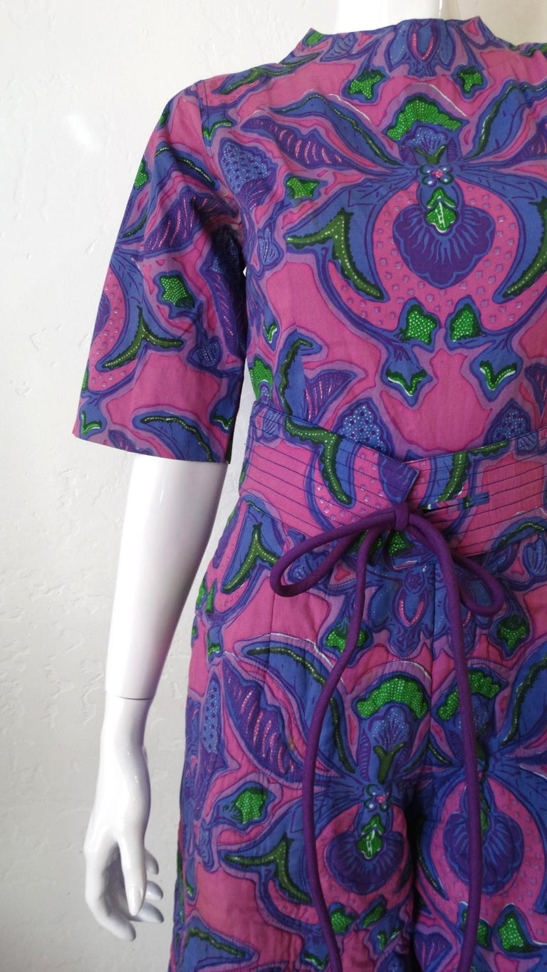 1960s Design Thai Quilted Wide-legged Jumpsuit For Sale 9