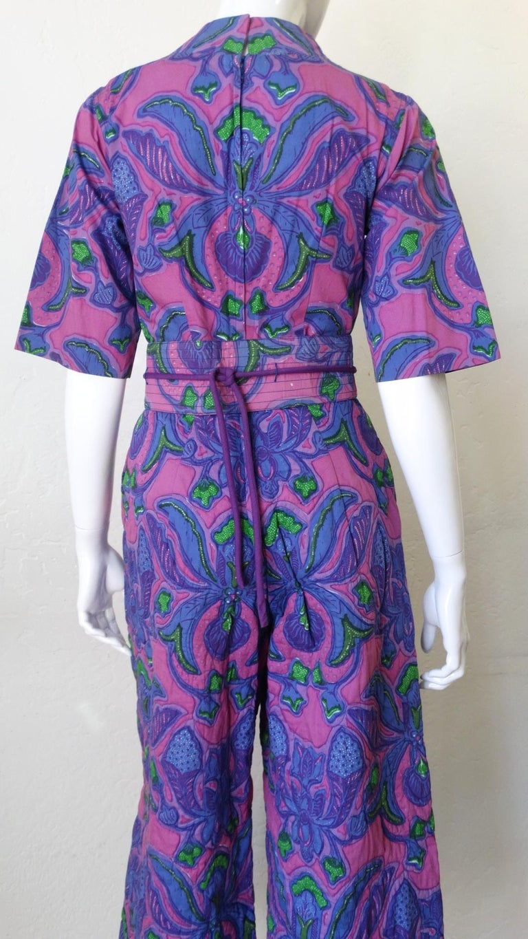 1960s Design Thai Quilted Wide-legged Jumpsuit For Sale 10