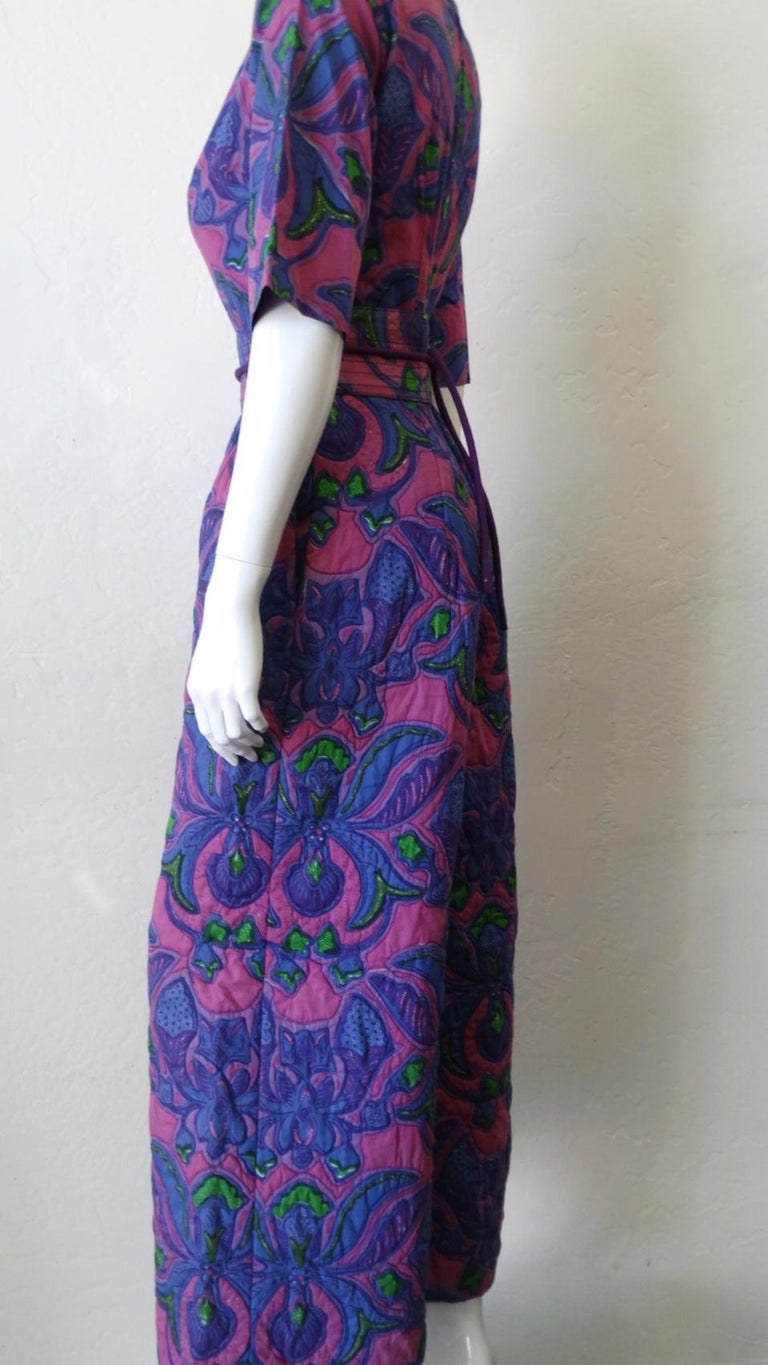 1960s Design Thai Quilted Wide-legged Jumpsuit For Sale 12