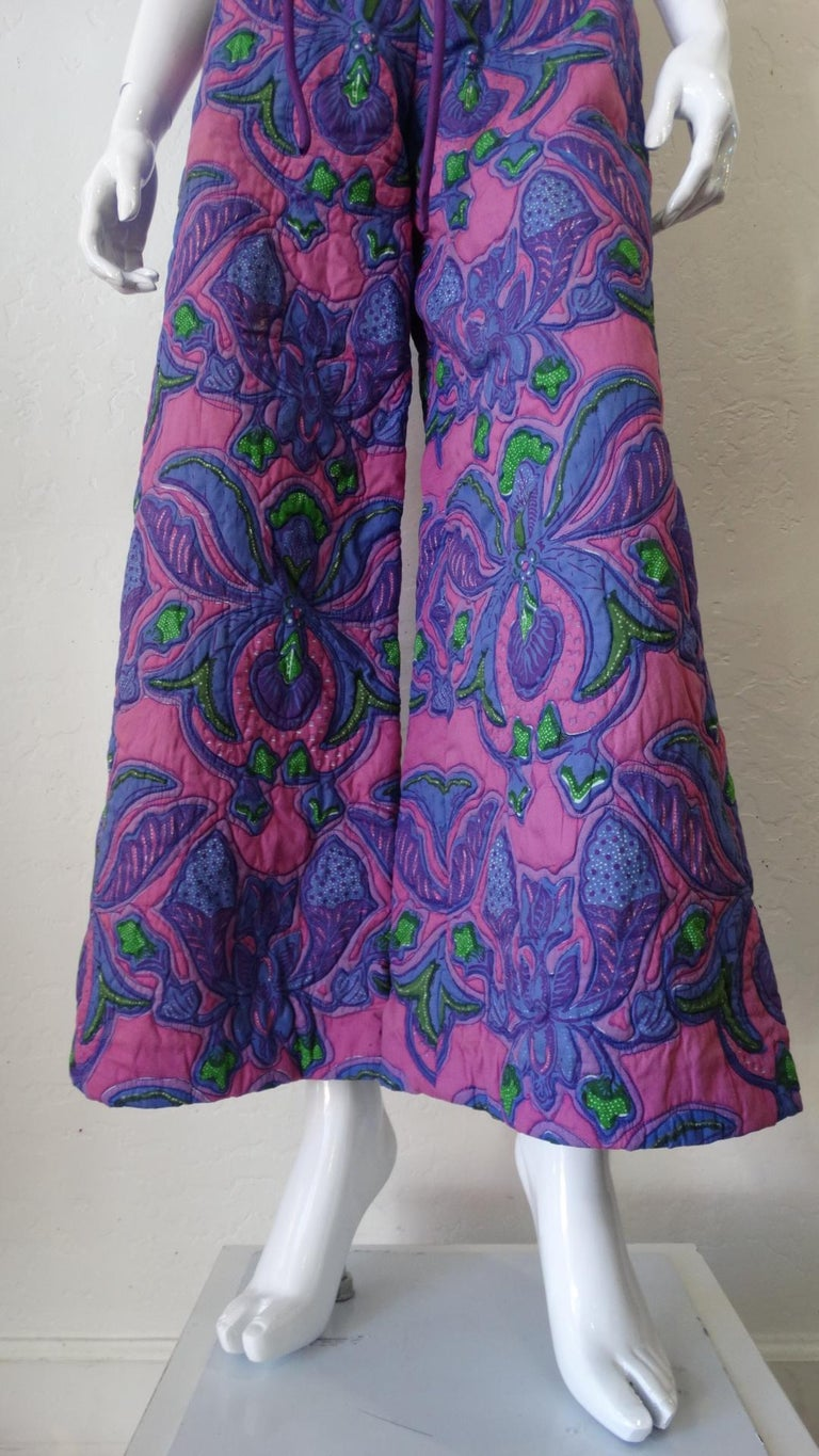 Purple 1960s Design Thai Quilted Wide-legged Jumpsuit For Sale