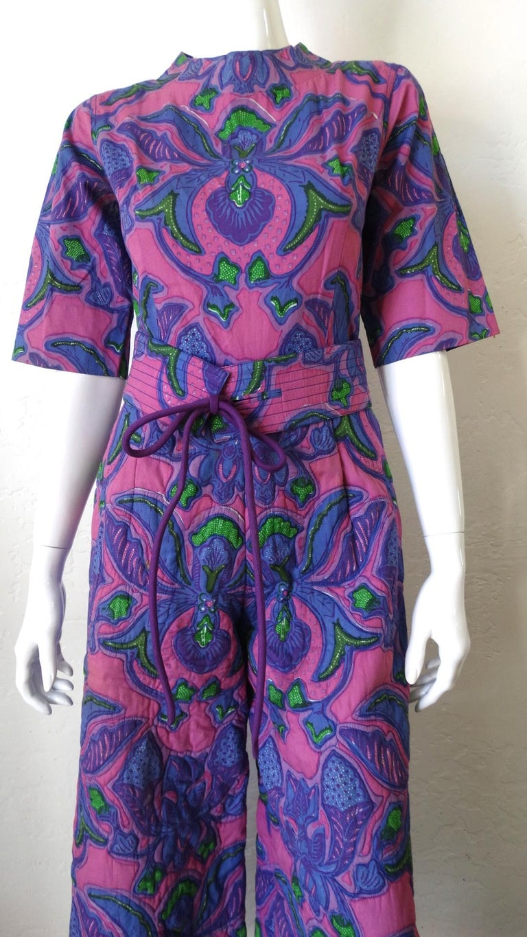 1960s Design Thai Quilted Wide-legged Jumpsuit In Good Condition For Sale In Scottsdale, AZ