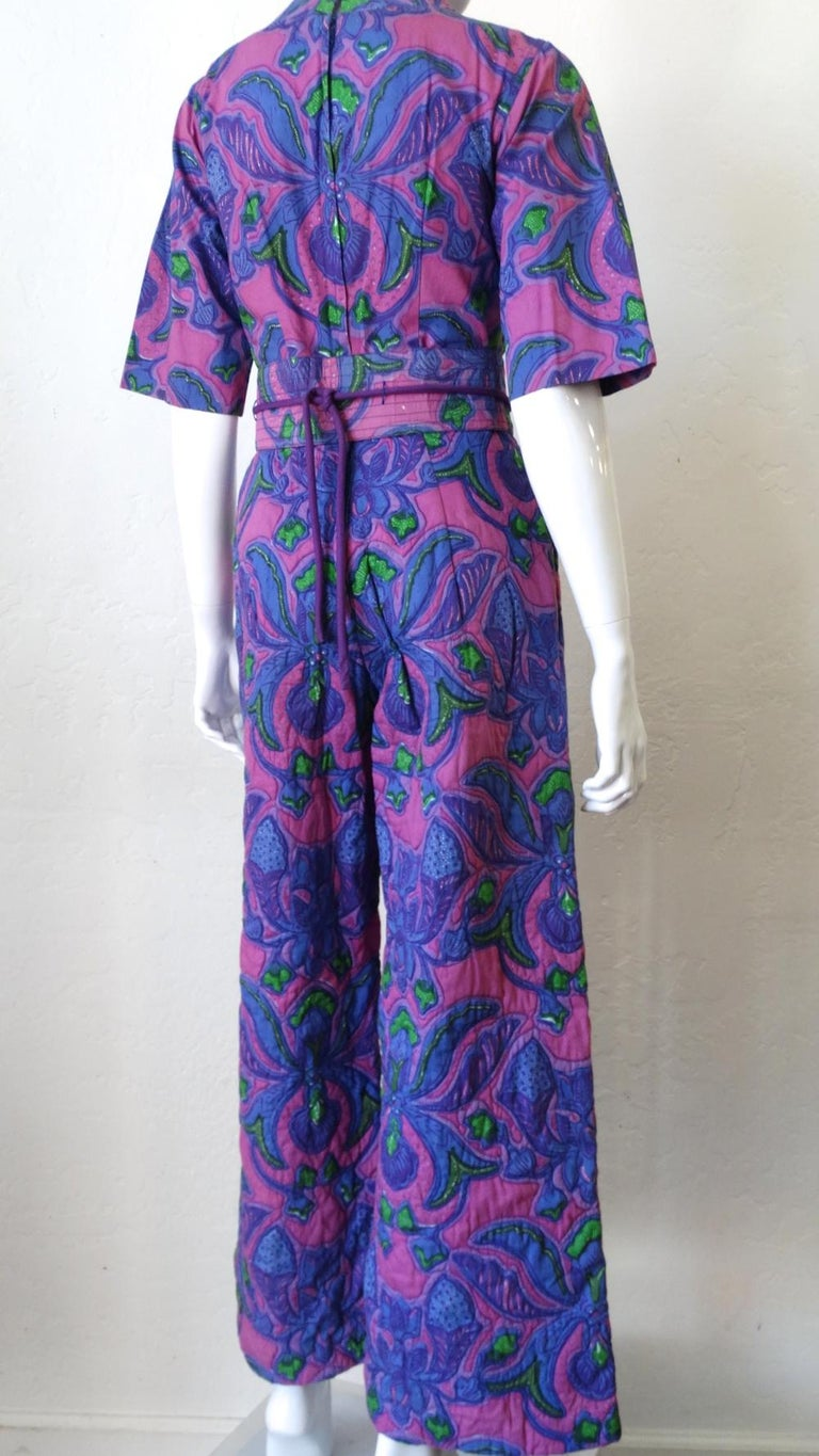 1960s Design Thai Quilted Wide-legged Jumpsuit For Sale 1
