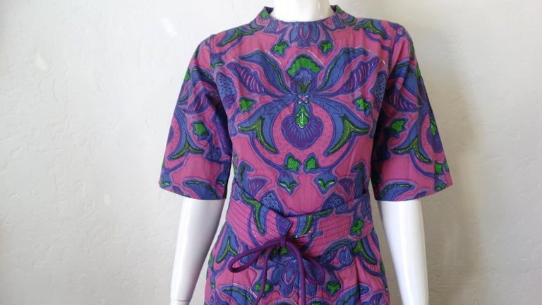 1960s Design Thai Quilted Wide-legged Jumpsuit For Sale 3