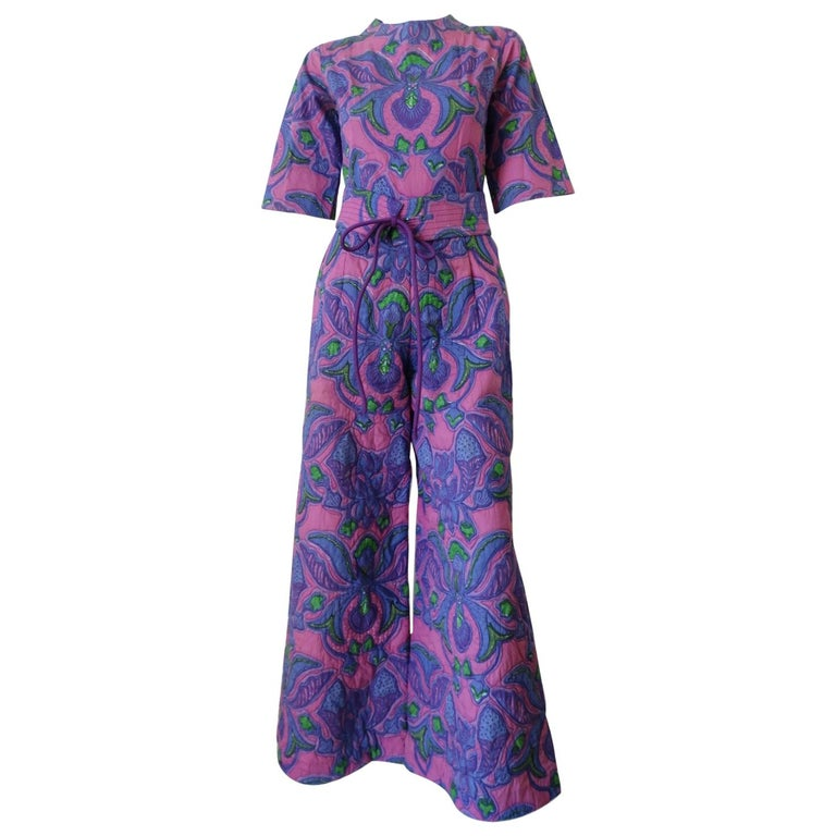 1960s Design Thai Quilted Wide-legged Jumpsuit For Sale