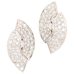 1960s Diamond 14 Karat White Gold Large Ear Clips