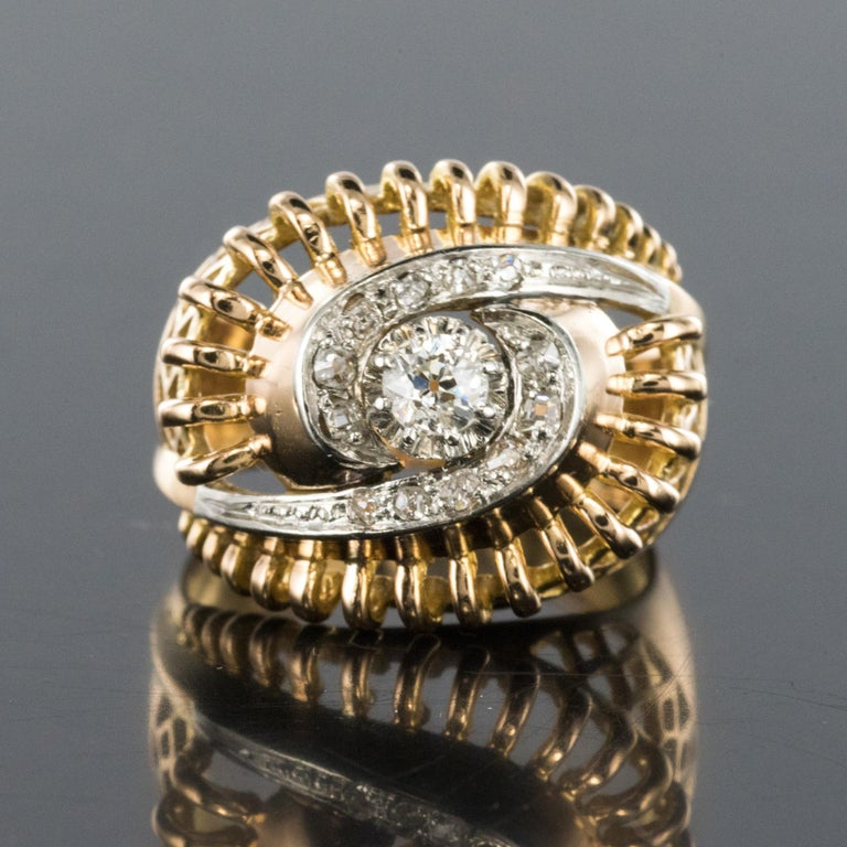 1960s Diamond 18 Karat Yellow Gold Retro Swirl Ring For Sale 7