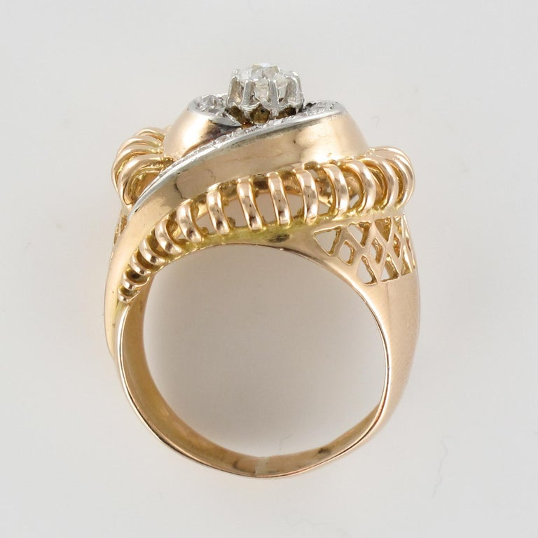 1960s Diamond 18 Karat Yellow Gold Retro Swirl Ring For Sale 9