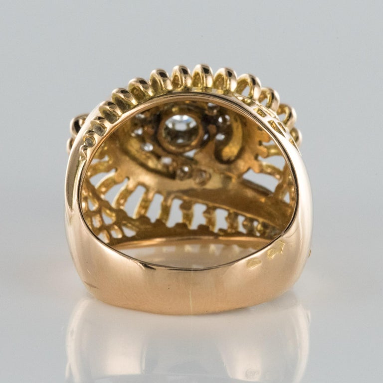 1960s Diamond 18 Karat Yellow Gold Retro Swirl Ring For Sale 10