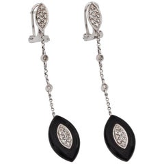 1960s Diamond and Onyx Drop Chandelier Earrings