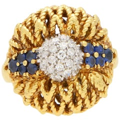 1960s Diamond and Sapphire Floral Cocktail Bombe Ring Set in 18 Karat Gold