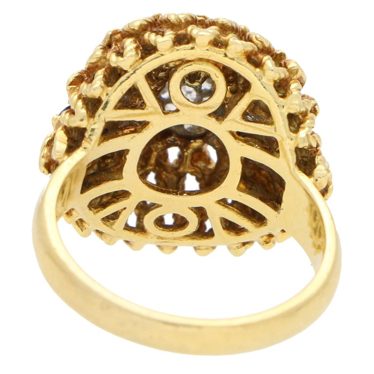 Women's or Men's 1960s Diamond and Sapphire Floral Cocktail Bombe Ring Set in 18 Karat Gold For Sale