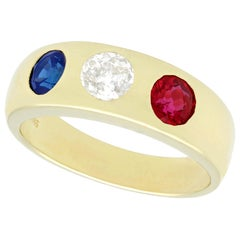 1960s Diamond and Sapphire Ruby and Yellow Gold Cocktail Ring