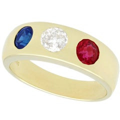 1960s Diamond and Sapphire Ruby and Yellow Gold Dress Ring