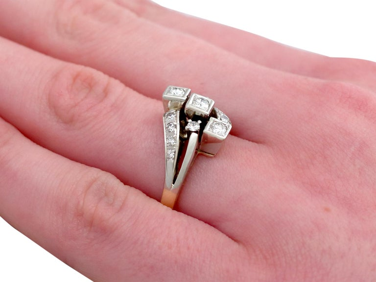 1960s Diamond and Yellow Gold Dress Ring  For Sale 2