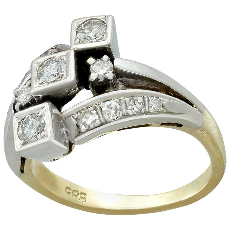 1960s Diamond and Yellow Gold Dress Ring  For Sale