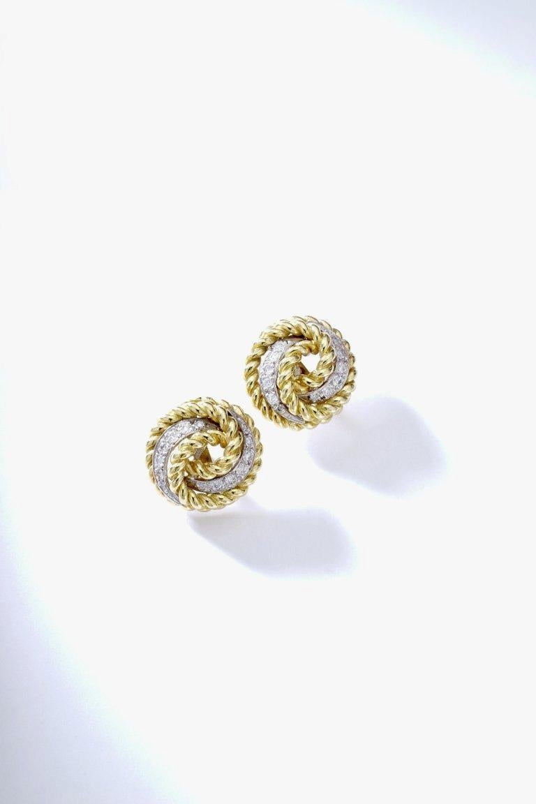 Diamond on yellow gold and platinum Earrings. Circa 1960.