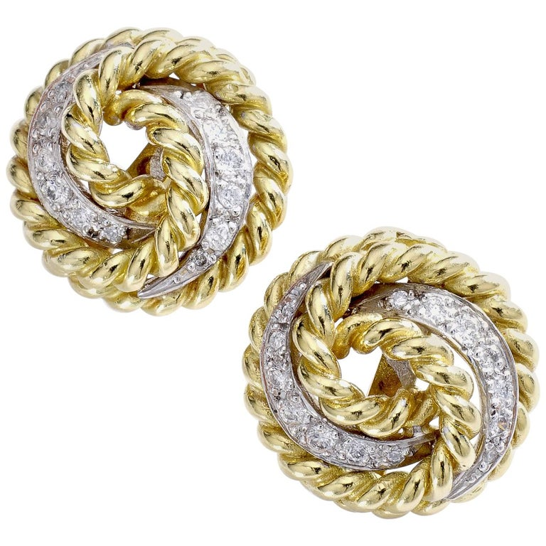 1960s Diamond and Yellow Gold Earrings For Sale