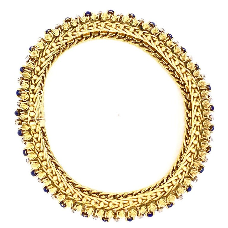 Contemporary 1960s Diamond Blue Enamel Flexible 18 Karat Yellow Gold Bracelet For Sale