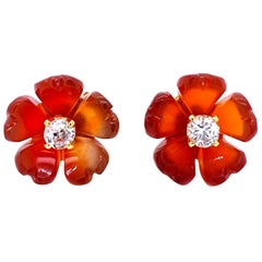 1960s Diamond Carnelian Stud Flower Earrings