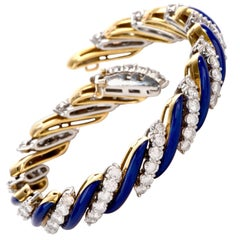 1960s Diamond Cobalt Blue Enamel Striped 18 Karat Gold Bracelet