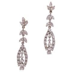 1960s Diamond Dangle Drop Vintage Earrings 14 Karat White Gold