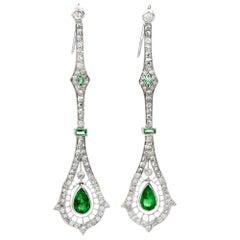 1960s Diamond Emerald Platinum Deco Drop Dangle Long Earrings