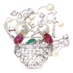 1960s Diamond Emerald Ruby Pearl Platinum Birds Nest Brooch