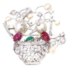 1960s Diamond Emerald Ruby Pearl Platinum Birds Nest Brooch