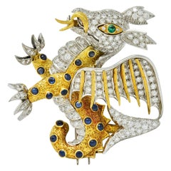 1960s Diamond Emerald Sapphire Platinum 18 Karat Gold Serpent Dragon Brooch