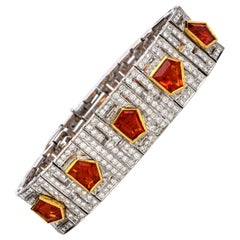 1960s Diamond Fire Opal 18 Karat Gold Deco Wide Bracelet
