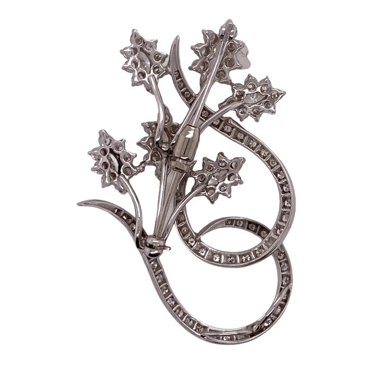 Modern 1960s Diamond Floral White Gold Vintage Pin Brooch For Sale