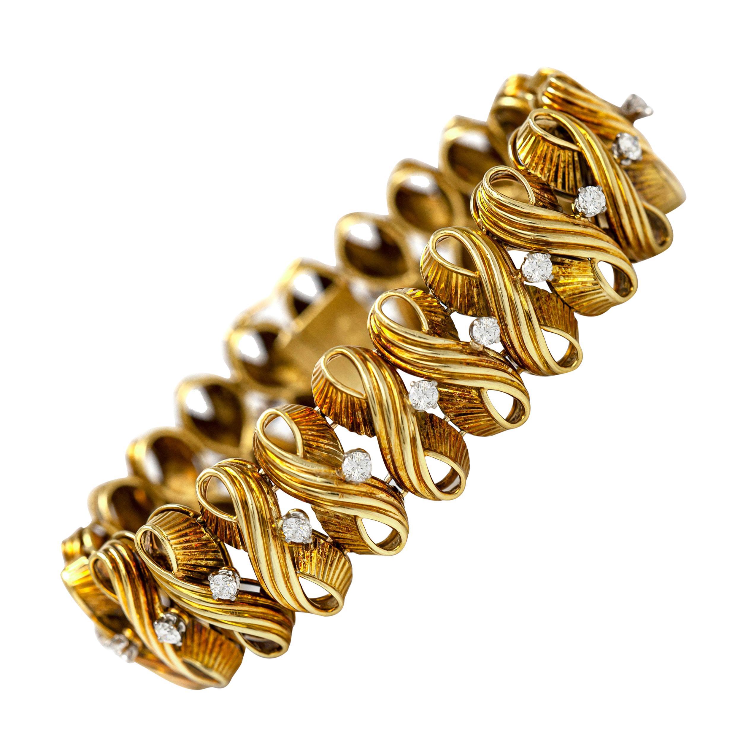 1960s Diamond Gold Bracelet