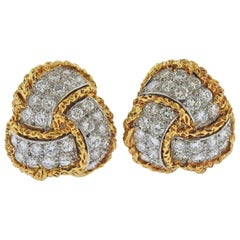 1960s Diamond Gold Earrings