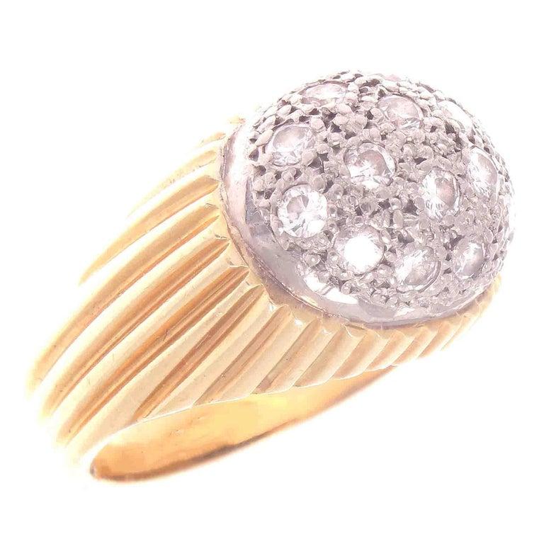1960s Diamond Gold Platinum Dome Ring