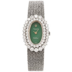 1960s Diamond Jade Cellini Mechanical 18 Karat White Gold Ladies Watch