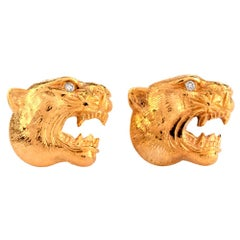 1960s Diamond Panther Head 18 Karat Yellow Gold Men's Cufflinks