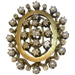 1960s Diamond Pearl Yellow Gold Brooch or Pendant