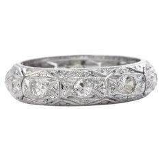 1960's Diamond Platinum Eternity Wedding Band Ring