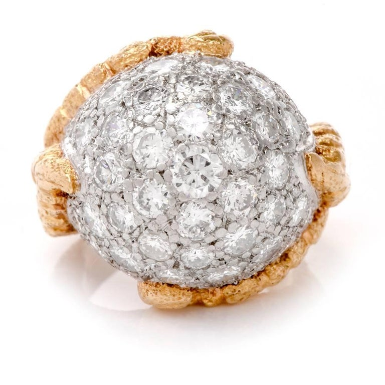 Round Cut 1960s Diamond Platinum Yellow Gold Bombe Cocktail Ring For Sale