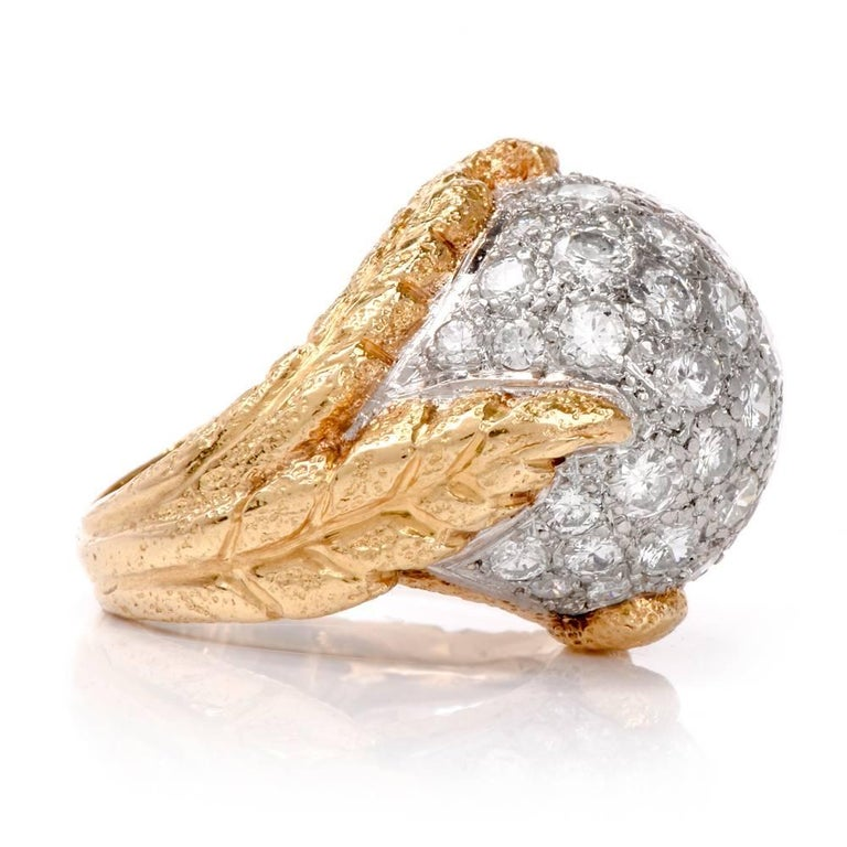1960s Diamond Platinum Yellow Gold Bombe Cocktail Ring In Excellent Condition For Sale In Miami, FL
