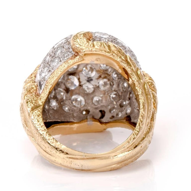 Women's or Men's 1960s Diamond Platinum Yellow Gold Bombe Cocktail Ring For Sale