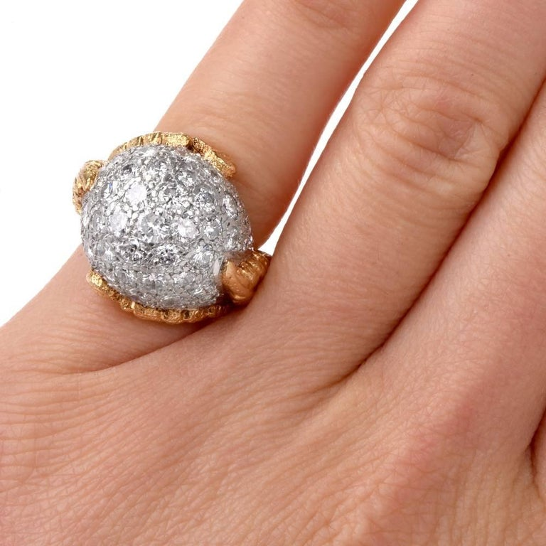 1960s Diamond Platinum Yellow Gold Bombe Cocktail Ring For Sale 1