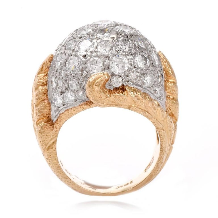 1960s Diamond Platinum Yellow Gold Bombe Cocktail Ring For Sale 2