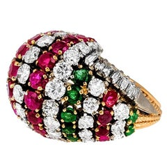 1960s Diamond, Ruby and Emerald Dome Ring