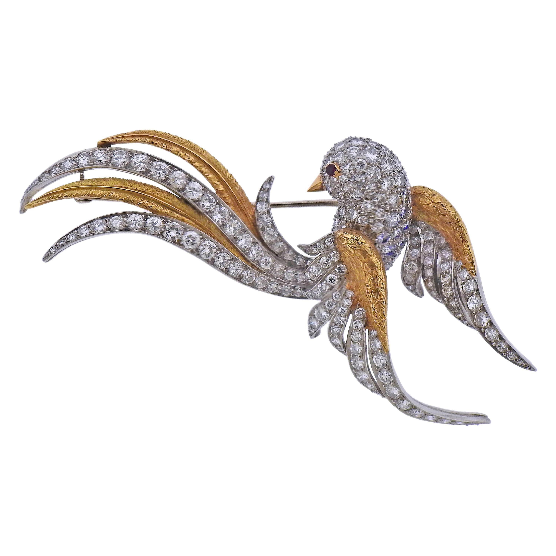 1960s Diamond Ruby Gold Bird Brooch Pin