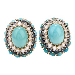 1960s Diamond Sapphire and Turquoise 18 Karat Clip-On Earrings