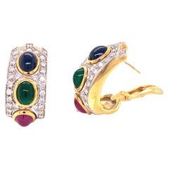 1960s Diamond Sapphire Emerald Ruby 18 Karat Two-Tone Gold Earrings