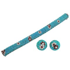 1960s Diamond, Turquoise, Ruby Bracelet and Earrings