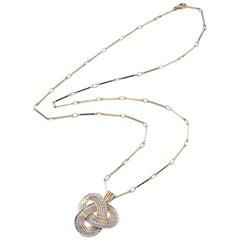 1960s Diamond Yellow Gold Platinum Pendant on Sautoir Chain Necklace