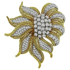 1960s Diamond Yellow White Gold Pin or Brooch